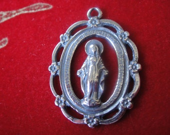 925 sterling silver large virgin Mary pendant, silver virgin Mary, Virgin Mary pendant, large silver pendant
