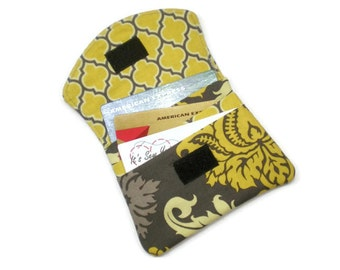 Small women wallet - yellow and gray, cards wallet, business card holder, minimalist wallet, under 15 gift, small handmade gift