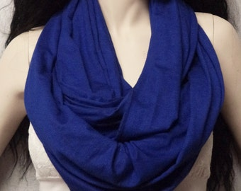 Cobalt Blue  Infinity Scarf SUPER Soft Jersey Knit Gift Ideas