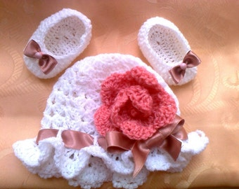 Instant download crochet Baby hat Pattern, Ballerina Shoes Crochet Pattern, easy Crochet Pattern, How to crochet baby hat