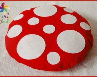Mini Toadstool Floor Cushion: Red