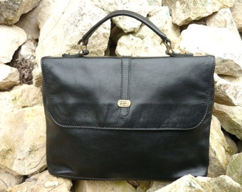 French black leather Texier handbag
