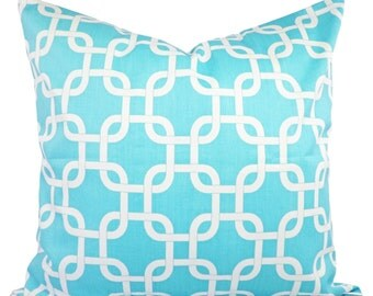 Two Decorative Throw Pillow Covers in Teal Blue and White - Teal Gotcha - Teal Couch Pillow 12x16 12x18 14x14 16x16 18x18 20x20 22x22 Pillow