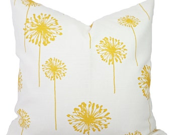 Two Decorative Throw Pillow Covers - Yellow and White Dandelion Pillows - Yellow Cushion Cover - Yellow Accent Pillow