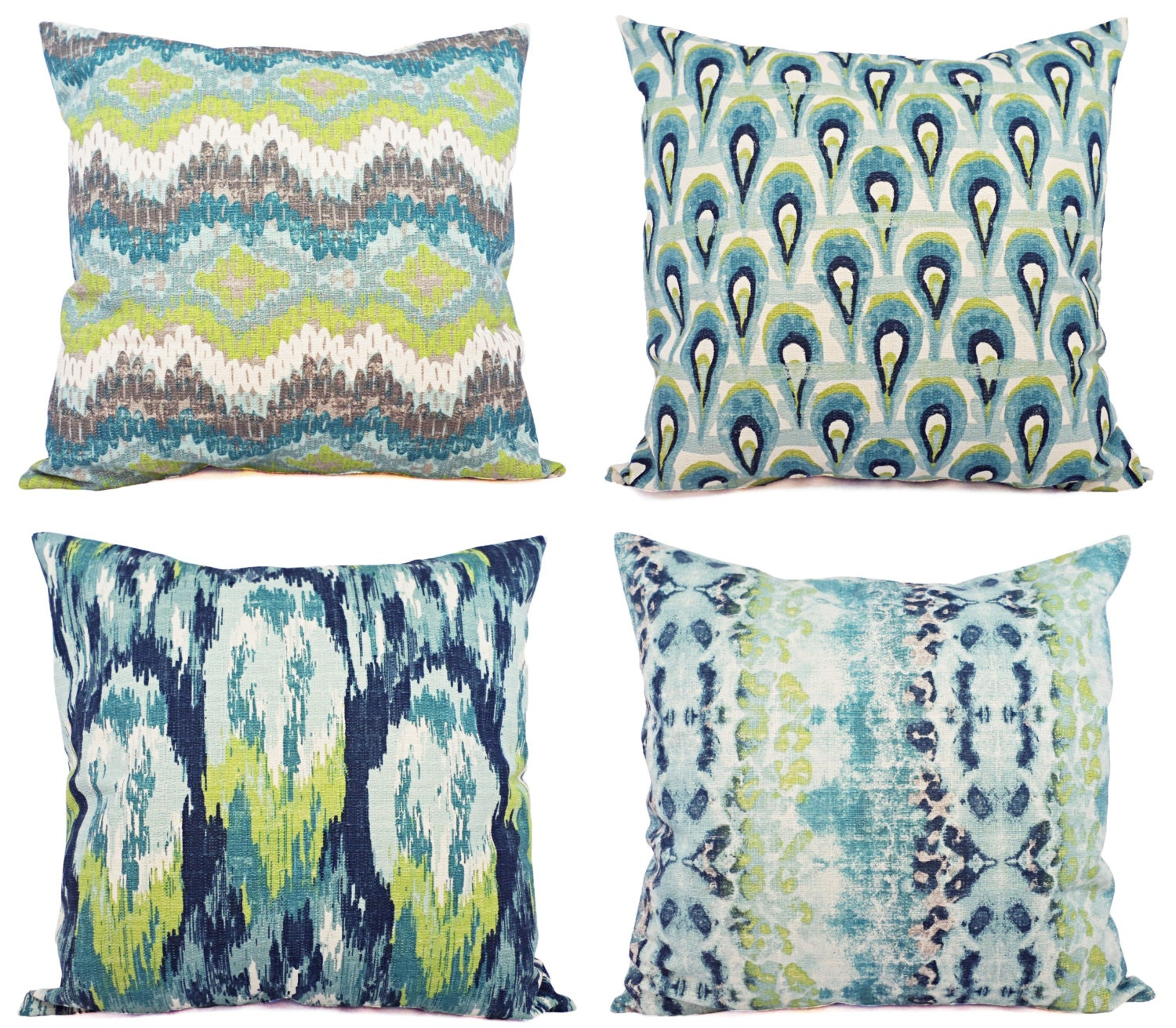 Two Throw Pillow Covers Blue and Green Ikat by CastawayCoveDecor