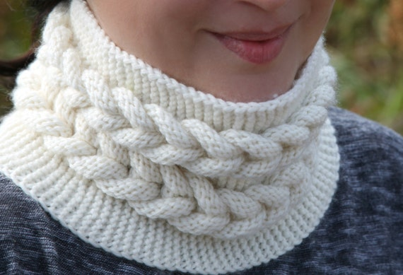 Knitting Pattern 3D Bulky Cable Cowl neck warmer/headband