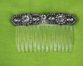"Art Deco Inspired Large Comb with Crystal Detailing and Large Crystals ""Carmen"""