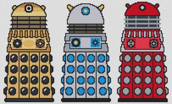 Trio of Daleks Cross Stitch Kit