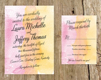 Two-Tone Watercolor Wedding Invitation Suite - DIY or have us do the printing