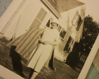 Circa Late 1920s - early 1930s Photo Reproduction of a Woman in the Back Yard of Her Summer Home