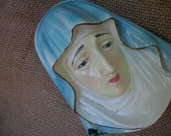 1940's Roman Art Co. Inc Robia Ware Chalkware Madonna Plaque