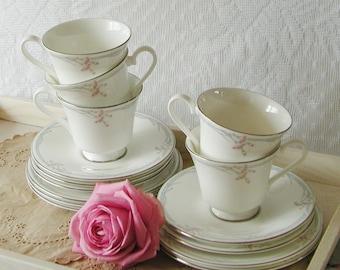 Vintage Royal Doulton Carnation Teacup and Saucer. 1980s.