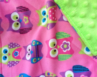 awesome hot pink and lime green lovey blanket
