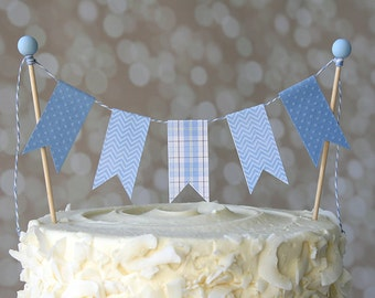 Baby Blue Plaid/Chevron Birthday Shower Cake Bunting Pennant Flag Cake Topper-MANY Colors to Choose From!  Birthday, Shower Cake Topper