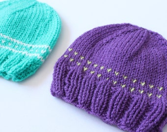Purple baby hat, knit baby hat, baby boy or baby girl hat, sweet baby hat