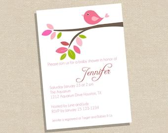 Baby Bird Baby Shower Invitation - Pink Bird Baby Shower Invitation - Printable Baby Shower Invitation - Girl Baby Shower Invitation