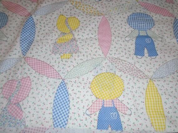 Dutch Girl Boy Vintage Fabric Preprinted Ez Quilt Cotton
