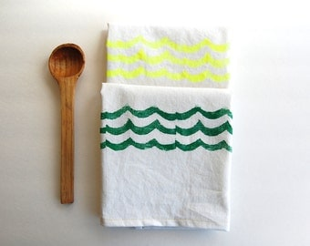 Hand block printed white cotton/linen tea towel in Summer waves print