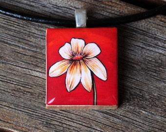 White Flower on Red Resin Scrabble Tile Pendant Necklace
