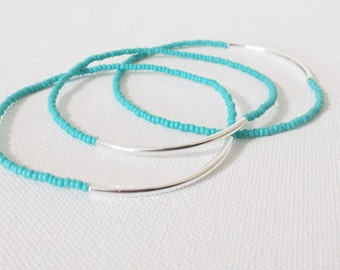 Bridesmaid jewelry, turquoise bracelet, beaded bracelets, stretchy bracelets, bridesmaid gift seed bead bracelet, minimalist bracelet, gift