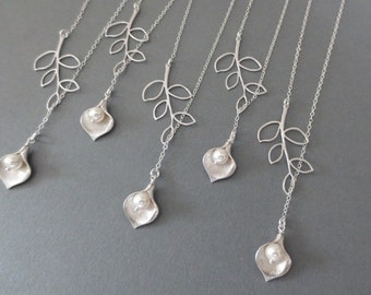 Set of 5-Calla Lily and Branch Lariat Necklace in STERLING SILVER CHAIN--Bridesmaid Jewelry-Weddings Gift-Perfect Gift-Birthday Present.