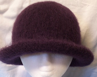 Hat Wool Felted Wine with Flared Brim
