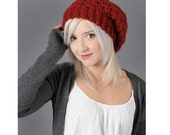 Red Slouchy Beanie Dark Red Knit Crochet Cranberry Chili Pepper Beany Hat Slouch Women Hat