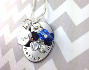 Hand stamped personalized marine mom stainless steel necklace