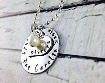 Sisters stainless steel necklace, personalized, hand stamped