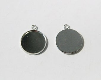 100 pcs of 18mm cabochon setting blank tray pendant silver color
