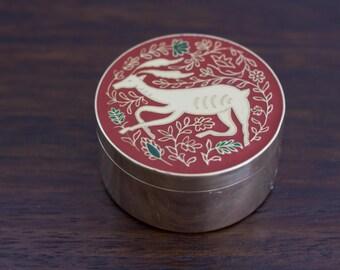 Vintage Brass and Enamel Trinket Box with Gazelle