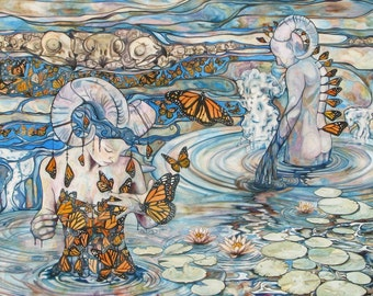 Surreal Painting Horned Butterfly Characters in Lily Pads with Owl Skulls 5 x 7 print of hand painted watercolour in earth tones