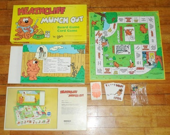 Vintage 1982 Heathcliff Munch Out Board Card Game