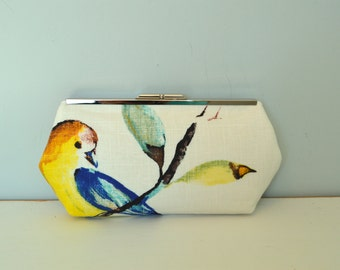 Free US Shipping Stunning Watercolor Birds Summer Cotton Linen Clutch Frame Purse Bag Lined