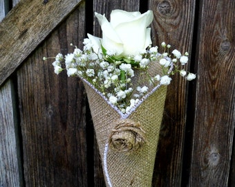 Church Pew Cones Burlap Aisle Cone Flower Cones Rustic Wedding Decor  Set of 15