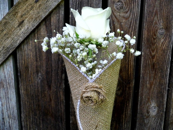 Flower cones burlap decoration rustic church decoration like this item junglespirit Image collections