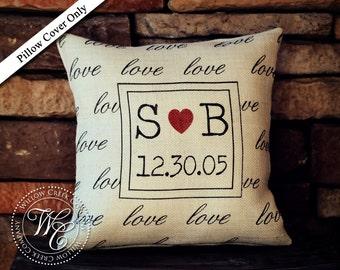 Love Burlap Pillow Cover, Wedding Gift, Personalized Initial Pillow, Personalized Pillow with Established Date