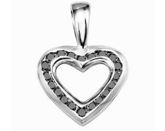 Sterling Silver Beautiful Fashion Pendant with Black & White Cubic Zirconia