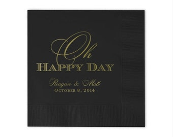 """Personalized """"Oh Happy Day"""" Napkins"""