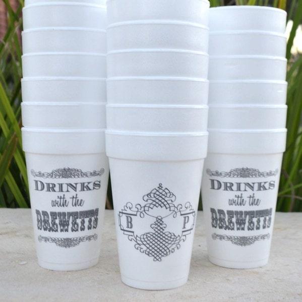 Personalized Styrofoam Party Cups Customizable Foam Wedding
