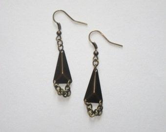 Bronze 3D Triangle & Chain Earrings