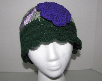 Purple, Verigate and green Hat with Scallop edging and flower