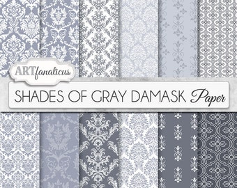 "Gray damask papers ""SHADES OF GRAY"" elegant, gray, grey and white, damask, for weddings, scrapbooking, invites, cards, home décor and more"
