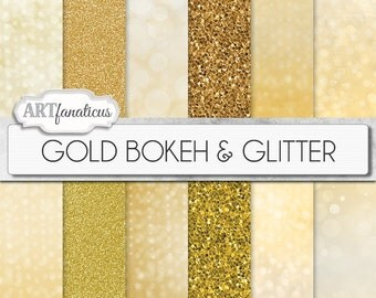GOLD BOKEH & GLITTER, gold digital papers with gold glitter background, gold bokeh background, backgrounds for photographers, scrapbooking