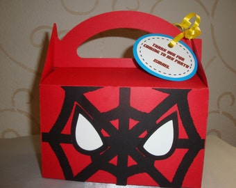 Spiderman Favor box, treat box, goodie box- set of 10. birthday party