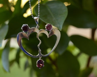 LOVE two Heart necklace in sterling silver