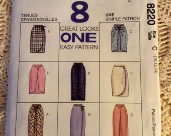 McCall's Skirt Pattern 8220.  Size C 10, 12, 14. Uncut pattern.  8 Great Look one easy pattern.