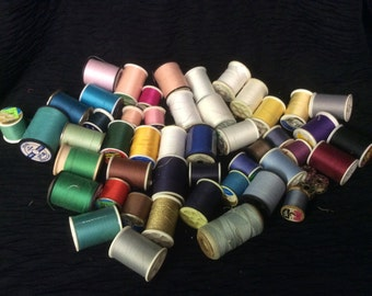 Lot of 45 Spools of thread.  Different sizes and colors.  Usable Thread for your Sewing Needs.
