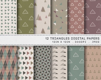 Triangles Printable Paper Pack / INSTANT DOWNLOAD / 12 Geometric Retro Digital Papers / Printable Patterns 022