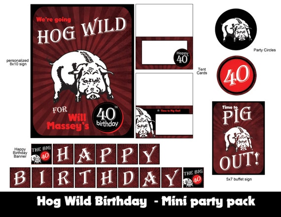 Hog wild 40th birthday mini party pack by never stop for 40th birthday decoration packs